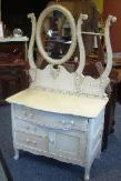 Antique Hotel Commode Painted Cream with Brown Glaze